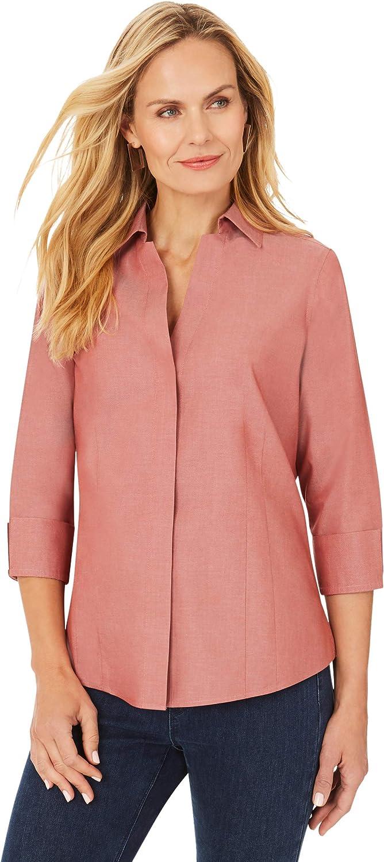 Foxcroft Women's Taylor Non-Iron Pinpoint 3/4 Sleeve Shirt