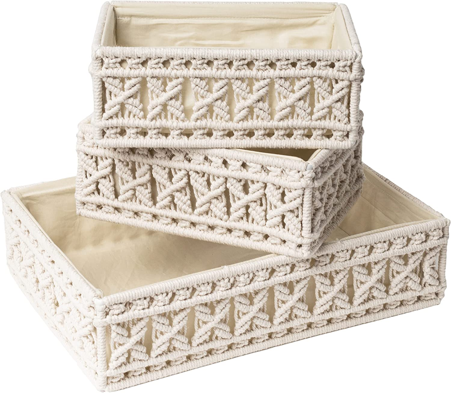 Livalaya Macrame Storage Baskets Spring new work one after another Oklahoma City Mall and Lining Decorative Bins with