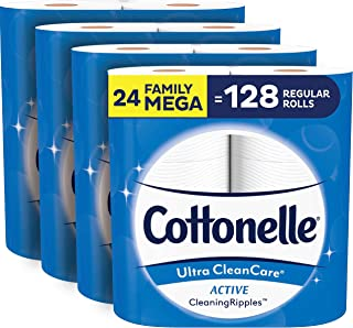 Cottonelle Ultra CleanCare Soft Toilet Paper with Active Cleaning Ripples, 24 Family Mega Rolls, Bath Tissue (24 Family Me...