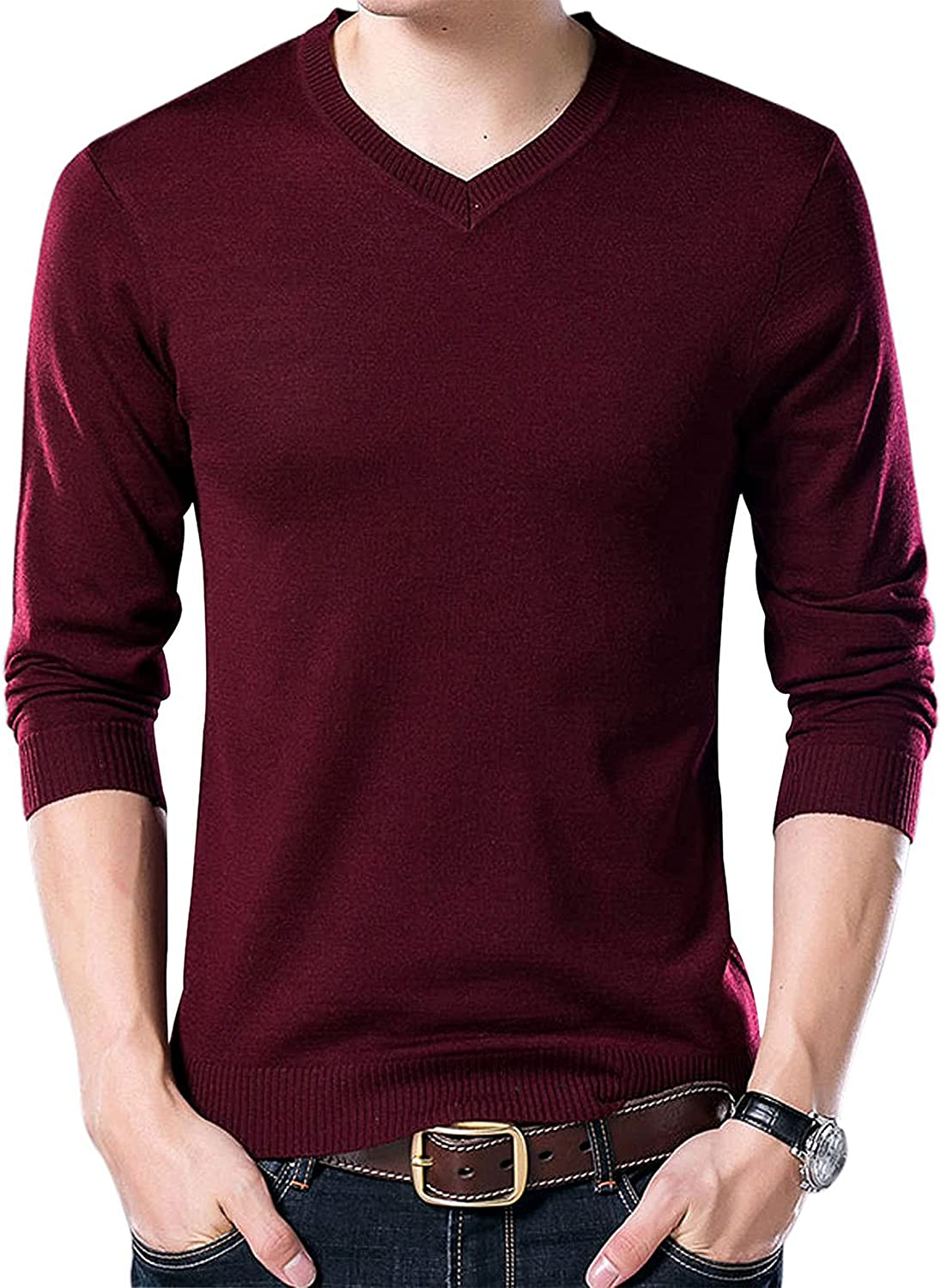 Yeokou Men's Casual Slim V Washington Mall Neck Cashmere Winter Wool Pullover Ju Limited price