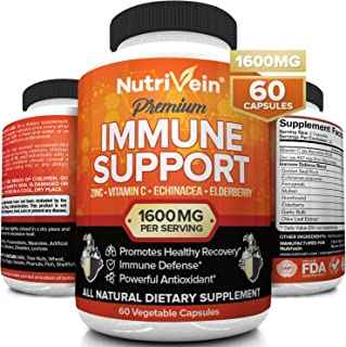 Nutrivein Immune Support - Boost Your Immune System with Elderberry, Zinc, Vitamin C, Garlic & Echinacea Prebiotics - 1600...