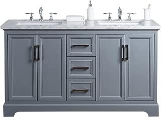Stufurhome HD-1525G-60-CR Ariane 60 inch Slate Gray Double Vanity Cabinet Dual Bathroom Sinks, 60
