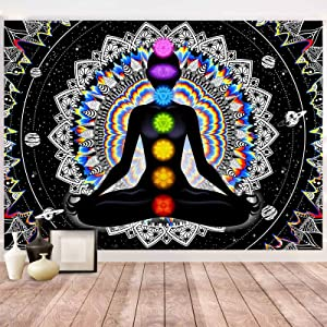 Wekoxo Seven Chakra Tapestry Mandala Tapestry Trippy Black and White Tapestry Celestial Space Tapestry Boho Yoga Meditation Wall Hanging Tapestry for Bedroom Home Decor (H29.5