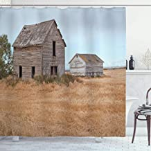 Ambesonne Farm House Decor Collection, Abandoned Wooden House in Grain Agriculture Farmland with Tree Gloomy Weather Theme, Polyester Fabric Bathroom Shower Curtain Set with Hooks, Yellow Brown
