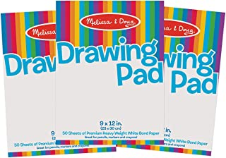 Melissa & Doug Drawing Paper Pad, 3-Pack of Large Drawing Pads, Pages Tear Cleanly, 50 Pages per Pack, Great Gift for Girl...