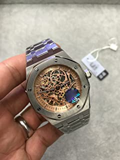 Luxury Brand Stainless Steel Silver Color All Gold dial Automatic Movement Skeleton Oak Watch Watches
