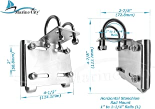 Marine City Horizontal Stanchion Rail Mount Anchor Bracket (for 1 Inches to 1-1/4 Inches Rails)