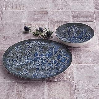 Set de 24 pièces ESS de qualité supérieure - En porcelaine - Design moderne - Bleu.