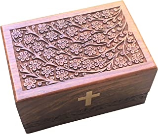Urn Box Hand Carved Tree of Life Handicrafts Handmade Handcrafted Wooden Cremation Urns Box Durable Elegant Design Wood Organizer Assembler Ideal for Human Ashes Adult Hand Engraved - X-Large