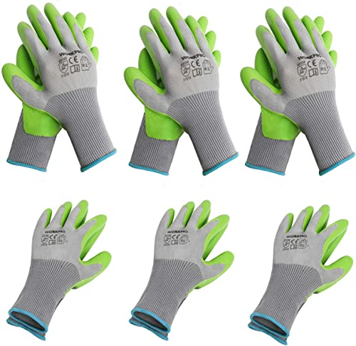popular WORKPRO 6 Pairs Garden Gloves, Work Glove with Eco Latex Palm Coated, Working sale Gloves for high quality Weeding, Digging, Raking and Pruning(L) outlet online sale
