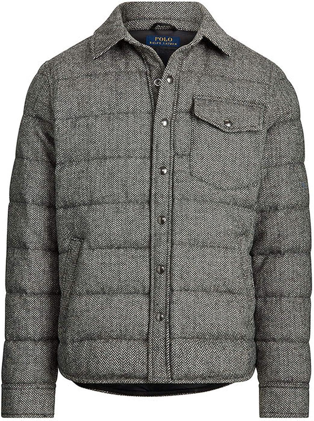 Polo Ralph Lauren Men's Herringbone Quilted Down Shirt Jacket, Charcoal Grey, XL
