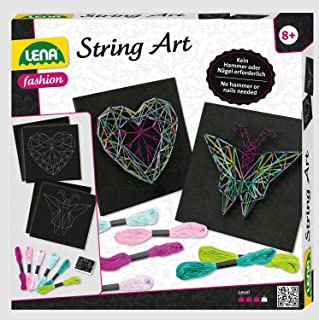 Lena 42650 – Hantverksset String Art fjäril och hjärta, komplett set för 2 trådbilder, med 2 basplattor, ca 21, 5 x 21, 5 ...