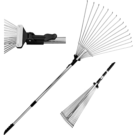 TABOR TOOLS J16A Telescopic Metal Rake, 63 Inch Adjustable Folding Leaves Rake for Quick Clean Up of Lawn and Yard, Garden Leaf Rake, Expanding Handle with Adjustable 8-23 Inch Width Folding Head.