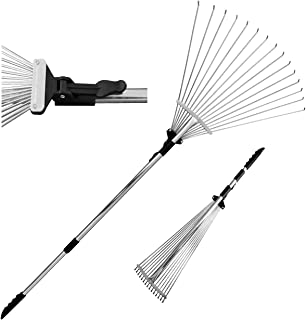 TABOR TOOLS J16A Telescopic Metal Rake, 63 Inch Adjustable Folding Leaves Rake for Quick Clean Up of Lawn and Yard, Garden...