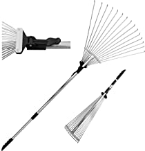 TABOR TOOLS Telescopic Metal Rake 63 Inch, Adjustable Folding Leaves Rake for Quick Clean Up of Lawn and Yard, Garden Leaf Rake, Expanding Handle with Adjustable 8 to 23 Inch Width Folding Head. J16A.