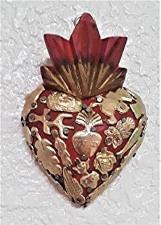 Fandango Wood Milagros Charms Heart Mexican Folk Art
