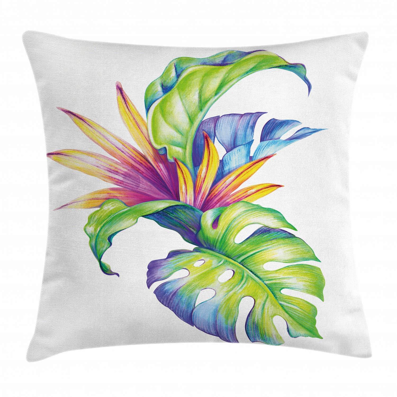Tropical Throw Pillow Custom made Blue Floral Throw Pillow Spun Polyester Square Pillow