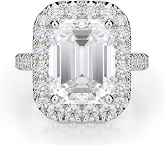 Ella Rose 1.75ct Emerald Cut Forever One Near Colorless Moissanite Engagement Ring in 18K White Gold