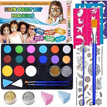 Pinturas Cara para Niños Pintura Facial no Tóxicos, Maquillaje al Agua para Halloween/Fiestas/Cosplay, 16 Colores Kit de Pintura Facial para Niños con 30 plantillas, 2 pinceles, 2 Glitter, 1 tatuaje: Amazon.es: Belleza