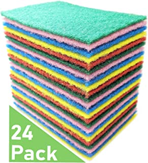 Bundaloo 24 Pack Scouring Pads - Heavy Duty Scrubbers Set in Red, Yellow, Pink, Green and Blue - Multipurpose, Non-Abrasive, Anti-Scratch - Synthetic Fiber Cleaning and Scouring Scrubs - 6x4 Inches