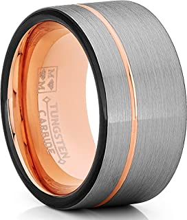 Tungsten Wedding Band Ring 12mm for Men Women Black & Rose Goldtone Pipe Cut