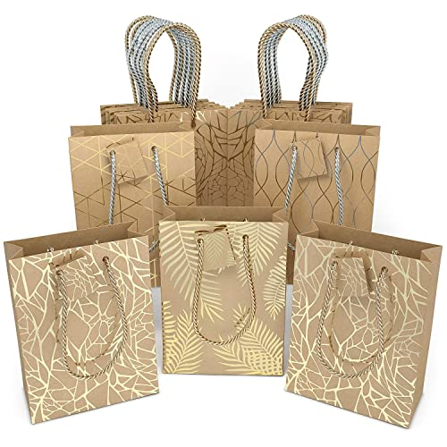 Glogex Gift Bags Kraft Paper Gifts Bag For Birthday Weddings Presents Set Of