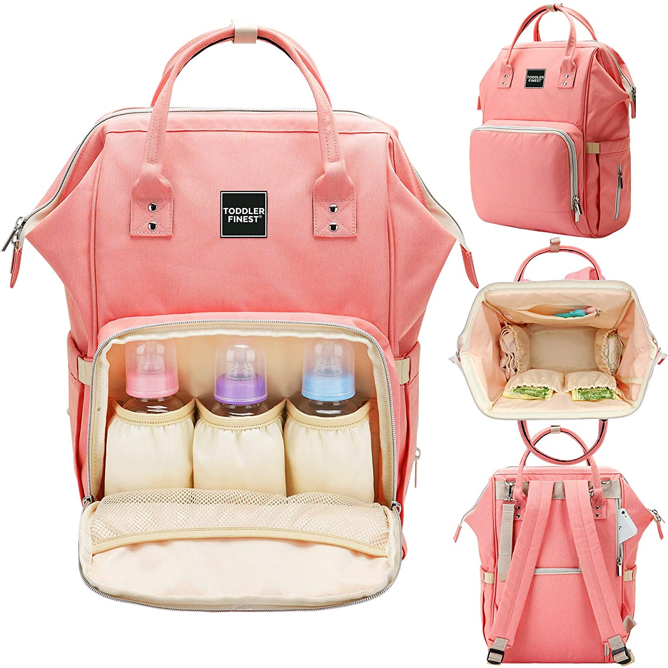 Designer Diaper Bag Backpack - Travel Organizer Tote Nappy Baby Bags for Girls & Boys - Multi-Function, Waterproof, Large Capacity, Stylish, Durable - w/Stroller Straps - for Mom Dad Men Women (Pink)