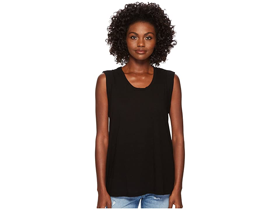Three Dots Eco Knit Muscle Tank Top (Black) Women
