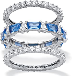 Platinum Plated Emerald Cut Simulated Blue Sapphire and Baguette Cubic Zirconia Stackable 3 Piece Set Eternity Ring
