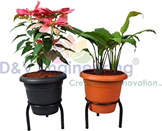 D&V Engineering-Iron Single Ring Pot/Matka/Plant Stand for Home Garden or Balcony (Black-Set of 2)