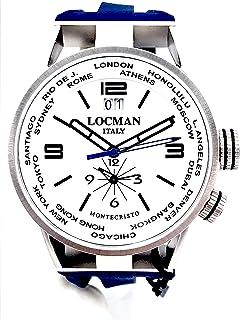 Locman montecristo Dual Time Cinturino Blu QUADRANTE Bianco