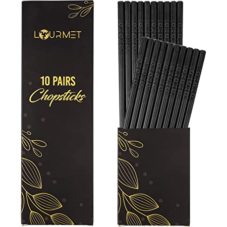 Lourmet 10 Pairs Fiberglass Chopsticks - Reusable Chopsticks Dishwasher Safe, Chinese, Japanese Chop sticks, Non Slip, 9 1/2 inches - BLACK