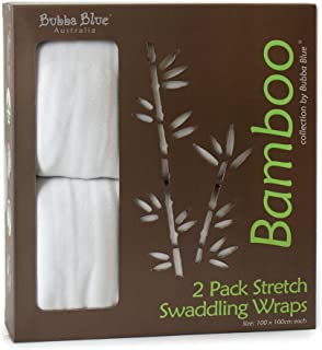 Bubba Blue Baby Infant Bamboo Viscose Stretch Swaddle Wraps Thermoregulating 2 Pack White Unisex