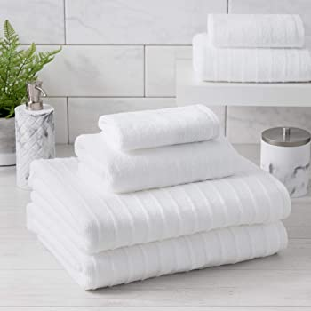 Welhome James 100% Cotton Textured Bath Towel Set of 6 (White) - Super Absorbent - Soft & Luxurious Bathroom Towels - Quick Dry - 2 Bath - 2 Hand - 2 Wash Towels