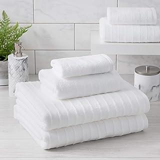 Welhome James 100% Cotton Textured Bath Towel - Super Absorbent - Soft & Luxurious Bathroom Towels - Quick Dry - 2 Bath - ...