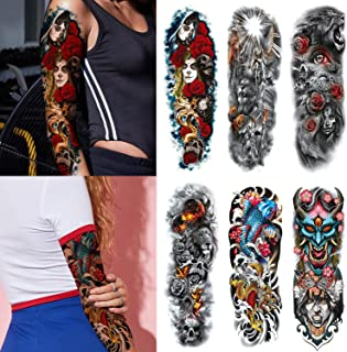 Kotbs 6 Sheets Full Arm Temporary Tattoos, Extra Temporary Tattoo Sleeves Body Stickers for Man Women Fake Tattoos