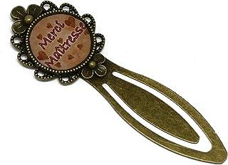 Resina segnalibro libro Grazie Mistress arancione cuori salmone ottone bronzo regali personalizzati Natale madre compleann...