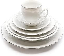 Royalty Porcelain Vintage Antique 28-pc Dinnerware Set 'Bernadotte White Platinum', Bone China Porcelain