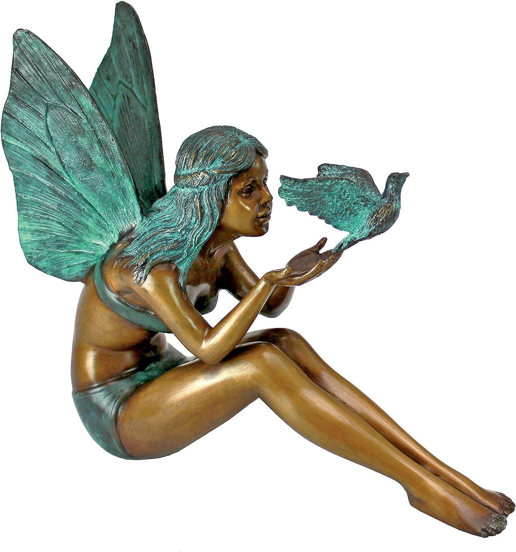 Design Toscano MP9222 5 popular Bird Fairy Two Garden Cast Statue Outlet ☆ Free Shipping Bronze