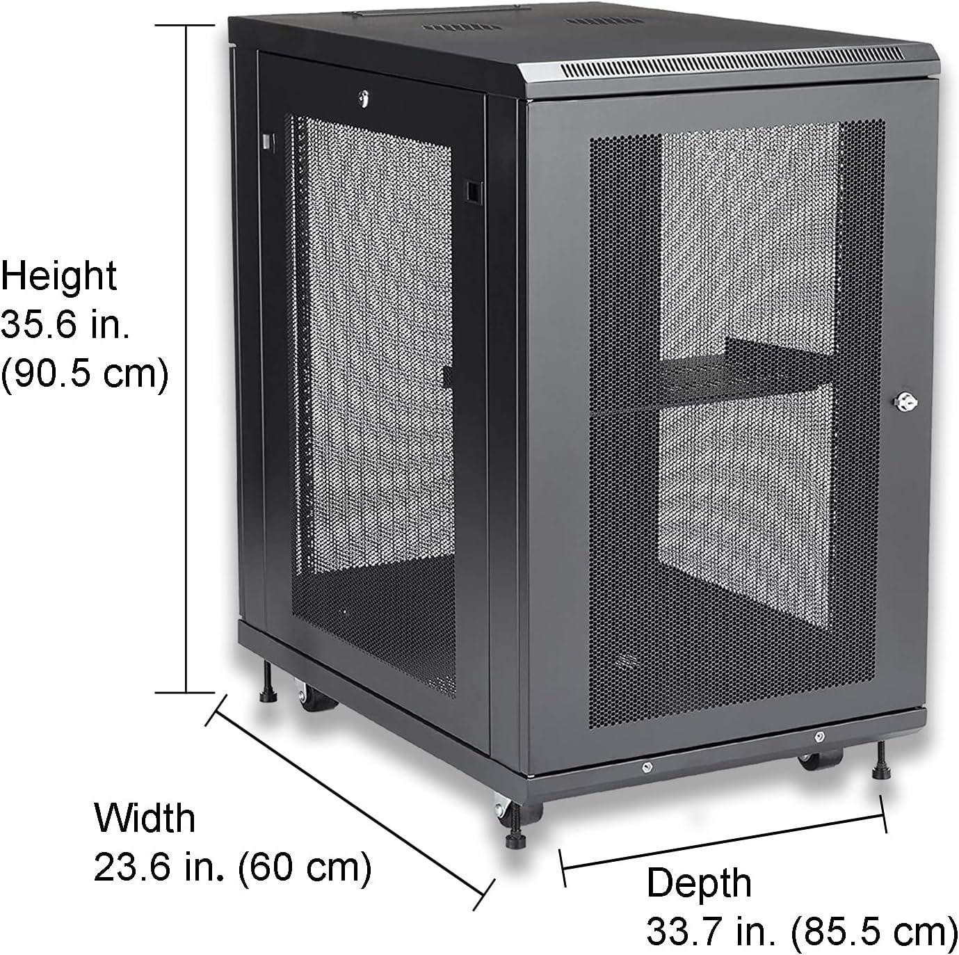 18U Black Server Rack Cabinet with Mesh Doors - 4-Post Adjustable Depth (2