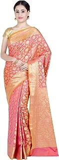 Women's Peach Kataan Silk Blend Banarasi Saree,Free Size(1282PEA)