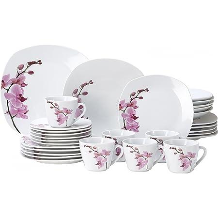 Van Well Service de table Kyoto, 30pièces, pour 6personnes, composé de vaisselle + service à café, en porcelaine fine, avec motif de fleurs d'orchidées, rose et rouge