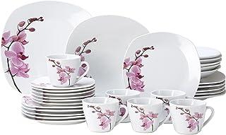 Van Well Service de table Kyoto, 30pièces, pour 6personnes, composé de vaisselle + service à café, en porcelaine fine, a...