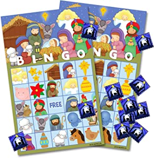 ORIENTAL CHERRY Christmas Nativity Bingo Game Cards for Kids - 24 Players - Preschool Activity Religious Party Game for Classroom Family