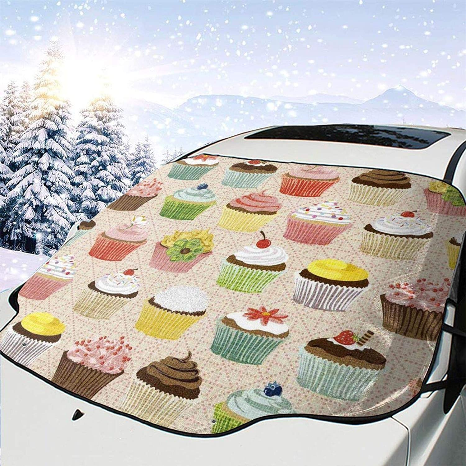 Car Cheap Phoenix Mall mail order specialty store Front Window Windshield Snow Cover Sweet Cupcakes Ice Guard