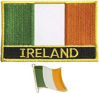 Parche bordado de bandera de Irlanda para planchar con pin de metal esmaltado