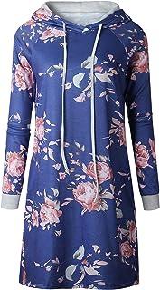 7TECH Hooded Sweater Fashion Print Dress Blue