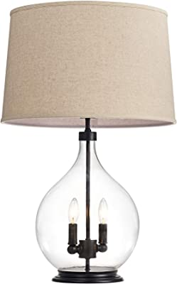 Warehouse of Tiffany TM133/3 Switha Glass 3-Light Table Lamp, Tan