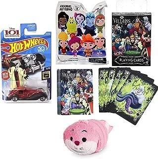 Cat Disney Tsum Mini Plush Pink Chesire Figure Evil Ones Villainous Character Bundled Blind Bag Keychain Figure & Car Wicked Cruella De Vil 101 Dalmations & Villain Playing Card Pack Deck 4 Items