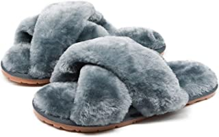 Women's Fuzzy Fluffy Furry Fur Slippers Flip Flop Open Toe Cozy House Memory Foam Sandals Slides Soft Flat Comfy Anti-Slip...